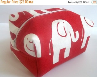 HALLOWEEN SPECIAL SALE Red Elephant Makeup Bag - Elephant Fabric - Waterproof Makeup Bag