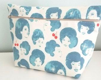 Blue Makeup Bag - Modern Makeup Bag - Bridesmaid Gift  -  Cosmetic Bag - Waterproof Bag - Melody Miller Fabric