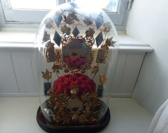 Magnificent Huge Globe De Mariee, Glass Dome. SUPERB, Wedding Stand, Antique, French Circa 1880