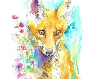 Fox cub painting with flowers - print from original watercolor