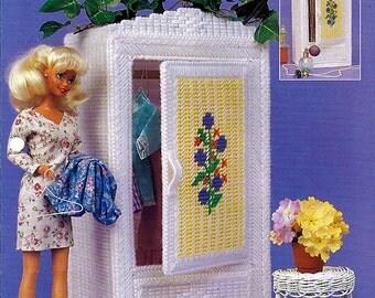 Wicker Wardrobe / Barbie Furniture Plastic Canvas Patterns Annies Attic FP09-03