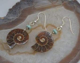 Ammonite Fossil Earrings with Turquoise Beads and Sterling Silver