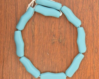 Bamboo shaped resin beads Solid Light Blue 1 x strand of 9 beads
