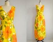 Vintage Malia Maxi Dress /  70s Hawaiian Mod Tropical Floral Print Long Luau Sundress / Made in Hawaii Yellow Orange