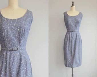 Vintage 1950s Jonathan Logan Dress / 50s Polka Dot Beaded Rhinestone Indigo Denim Sundress