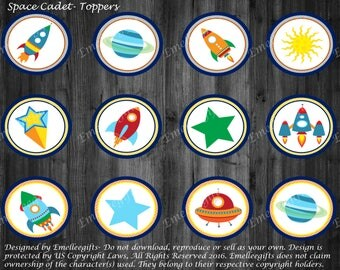 Space Cadet Cupcake Toppers ~INSTANT DOWNLOAD~