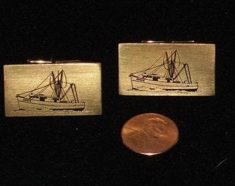 Cufflinks Shrimp Boat Trawler Sail Fishing Nautical Gold Tone Desco St. Augustine Vintage Cuff Links