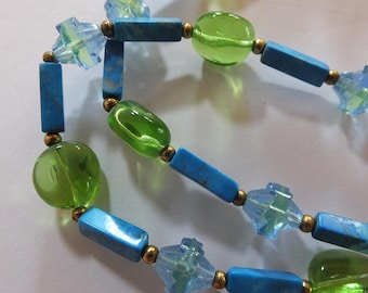 Turquoise Colored Stone and Glass Bead Necklace