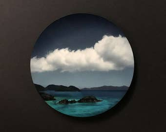 A Photograph of Trunk Bay, St. John Infused on an Aluminum Circle