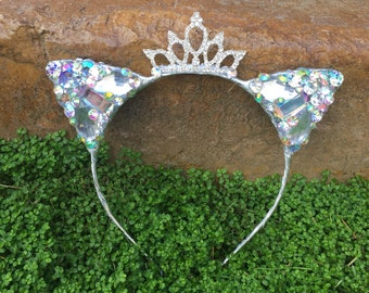 Pre-order Diamond Princess Kitty Cat Ears Wire Headband rhinestone jewels