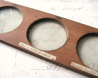 Antique Wooden Magic Lantern Slide with Three Faded Glass Apertures, Ideal for Photographs, 19th Century