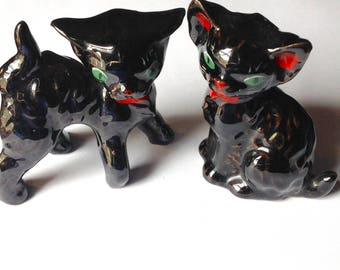 2 vintage redware red ware ceramic cats Japan