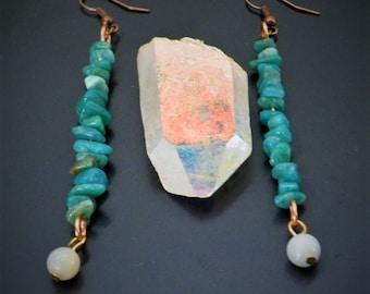 Amazonite Stone Earrings - Natural Jewelry - Blue Green Dangly Drop Earrings - Boho