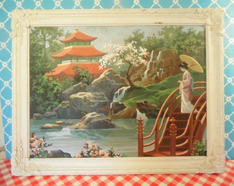 Vintage Paint By Number Painting - Japanese Garden - Wood Frame - 27.5 In. x 21.5 In.