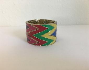 Vintage Stretch Bracelet, Vintage 80s Bracelet, Vintage Enamel Cuff, Stretch Bracelet