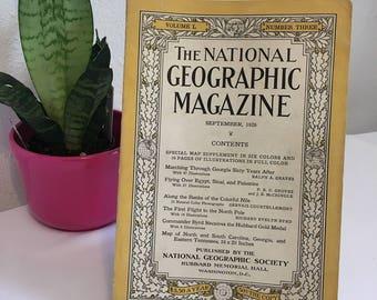 Vintage Magazine, September 1926, National Geographic, free shipping US & Canada