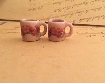 "Dollhouse Miniature ""Rose Red Crown"", Set of 2 Mugs, Scale One Inch"
