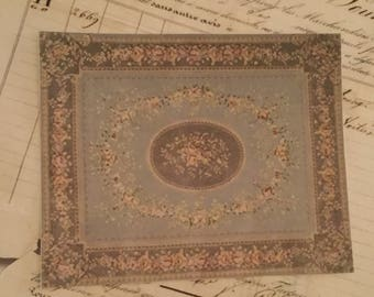 Dollhouse Miniature Vintage Aubusson Rug, Gray Gardens, Scale One Inch