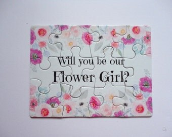 PUZZLE - Will you be my Flower Girl?, Bridal Party Puzzle, Flower Girl,