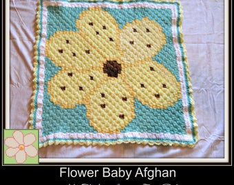 Flower Baby Afghan, C2C Graph, Written Word Chart