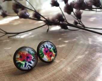 PRIMROSE floral hunger games inspired glass studs nickel free earrings
