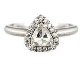 Pear Rose Cut .85 Carat Diamond Halo Engagement Ring