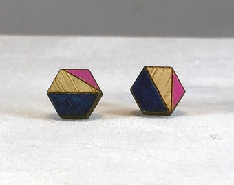 Wood Earrings // Navy and Pink Hexagon Bamboo // Geometric // Hypoallergenic  // Wood Jewelry //