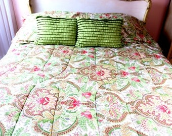 COMFORTER ... Raymond Waites  Queen Made IN Israel reversible 100% Cotton w 2 Shams