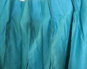 """Drapes .4 Panels Mid Century Modern Art Deco Turquoise silk Pleated Lined Modernism Drapes Hollywood Drapes Silk Drapes 56""""w x 80"""" L ea 60's"""