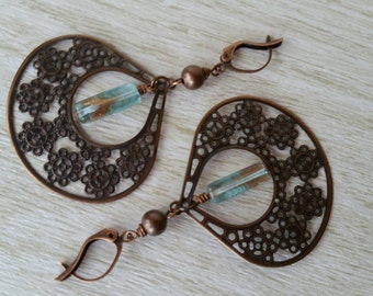 Copper and Blue Glass Dangling Earrings