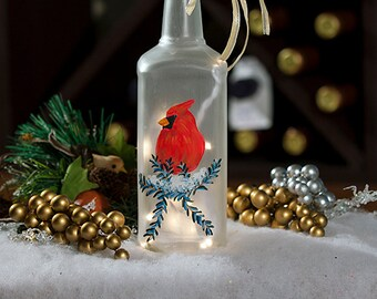 Red Cardinal, Christmas Lighted Wine Bottle Hand Painted Seasonal, Holiday Decoration, Cardinal Bird, Nature Lover Gift, Christmas Decor