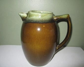 Pottery Brown with Green Water Pitcher