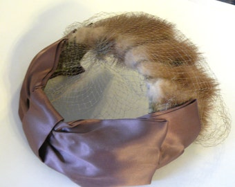 Vintage 1950's Blond Mink Hat w/Satin Bow - free shipping