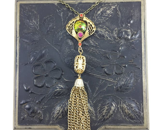 Vintage Gold Chain Tassel Necklace with Pink Green Vitrail Rhinestone