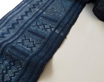 Handwoven Hmong Hemp, Vintage Batik fabric, Indigo blue- textiles Homespun Hemp fabrics - Table runner,