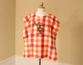 Toddler Towel Bib - Michigan Applique - Red Orange Check with Cars