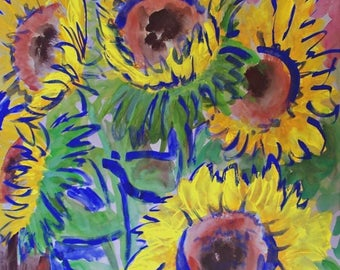 """Sun flowers of love original water color style Impressionistic art for modern home decor 19.5"""" x 25.5"""" acrylic on paper"""