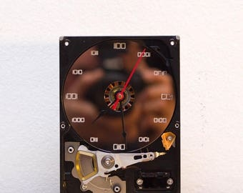 Desk clock - recycled Computer hard drive clock - HDD clock - gift for dad - unique gift for him - c3360