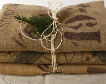 THREE Large Vintage Hessian Grain Sacks...Nordic Living Decor....Santa Sacks...Shabby Chic.