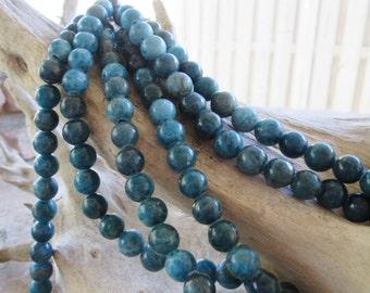 Large Hole Bead Round 10mm Blue Apatite Big 2.5 mm Hole 10 gemstone Beads