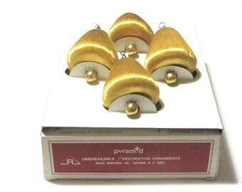 Pyramid Satin Sheen Gold Bell Ornaments Unbreakable MCM String Over Styrofoam Tree Decor