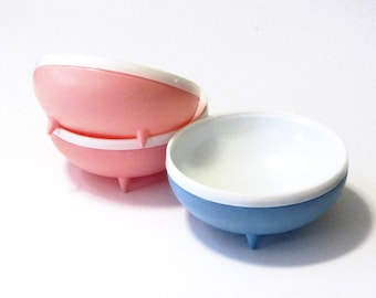 Thermo Ware Bolero Cereal Bowls Footed Plastic Insulated Dishes Pastels Retro Atomic Design
