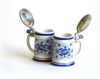 West Germany Blue & White Floral Beer Stein Miniature Echt Kobalt BMF ZINN Tankard Collectible Ceramics Bar Decor