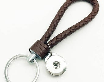 1 Brown Braided Leather Keychain - FITS 18MM Candy Snap Charm Jewelry Silver CJ0740