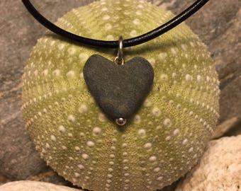 Beach stone jewelry- Heart stone necklace