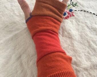 Orange merino wool arm warmers