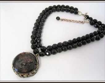 Cameo Pendant - Black Glass Bead Necklace - Double Strand Crystal  Wired Beads - Jet Black Beads - Upcycled Necklace