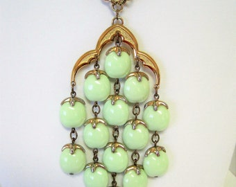Crown Trifari Waterfall Necklace -  Pale Green Lucite -Vintage 70's