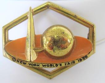 Art Deco Brooch -  New York World's Fair - 1939 Enamel Pin