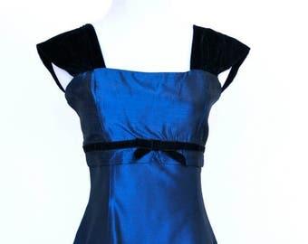 20% OFF SALE 80's Vintage Prom Dress, Gunne Sax Dress, Blue Satin Prom Dress, Short Prom Dress